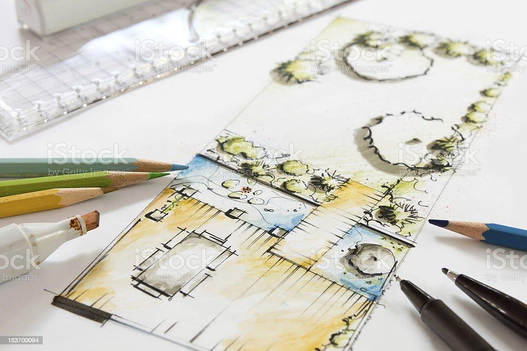 Landscape Design Sketch of small Garden royalty-free stock photo