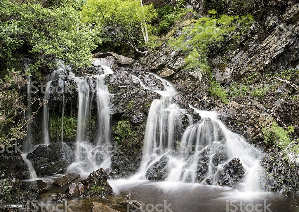 Landscape detail of waterfall over rocks in Summer royalty-free stock photo