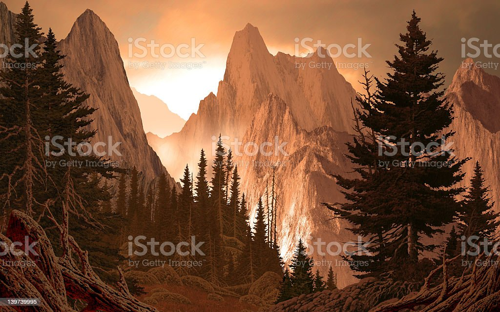 Landscape drawing of a snowy mountain range with tall trees stock photo