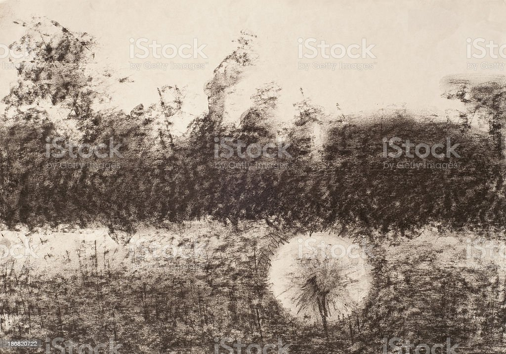 landscape drawing. royalty-free stock photo