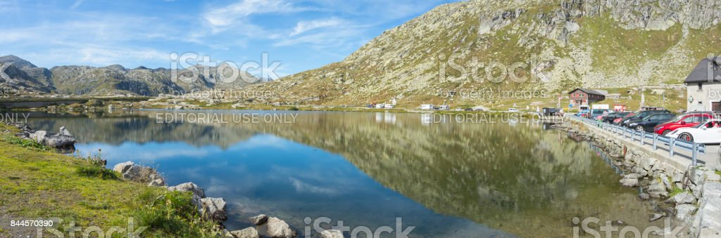 Landscape during summer time at Gotthard Pass, Switzerland stock photo