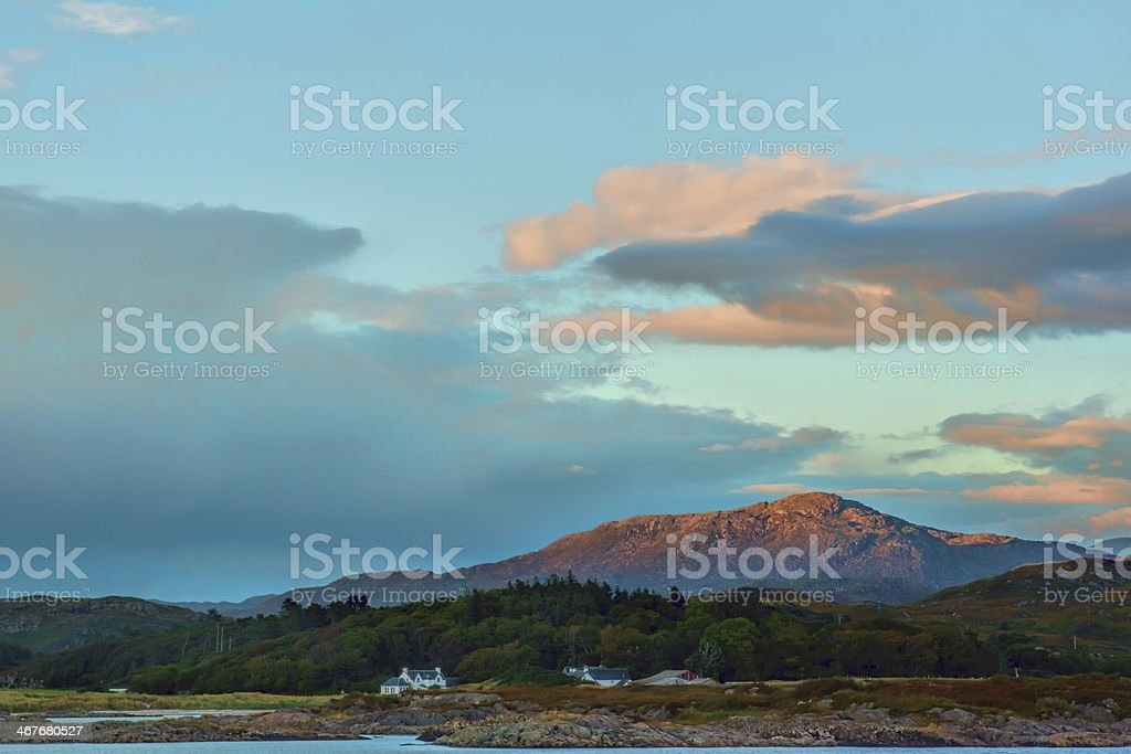 Landscape, Evening light over, Traigh house and Carn a Ghobhair royalty-free stock photo