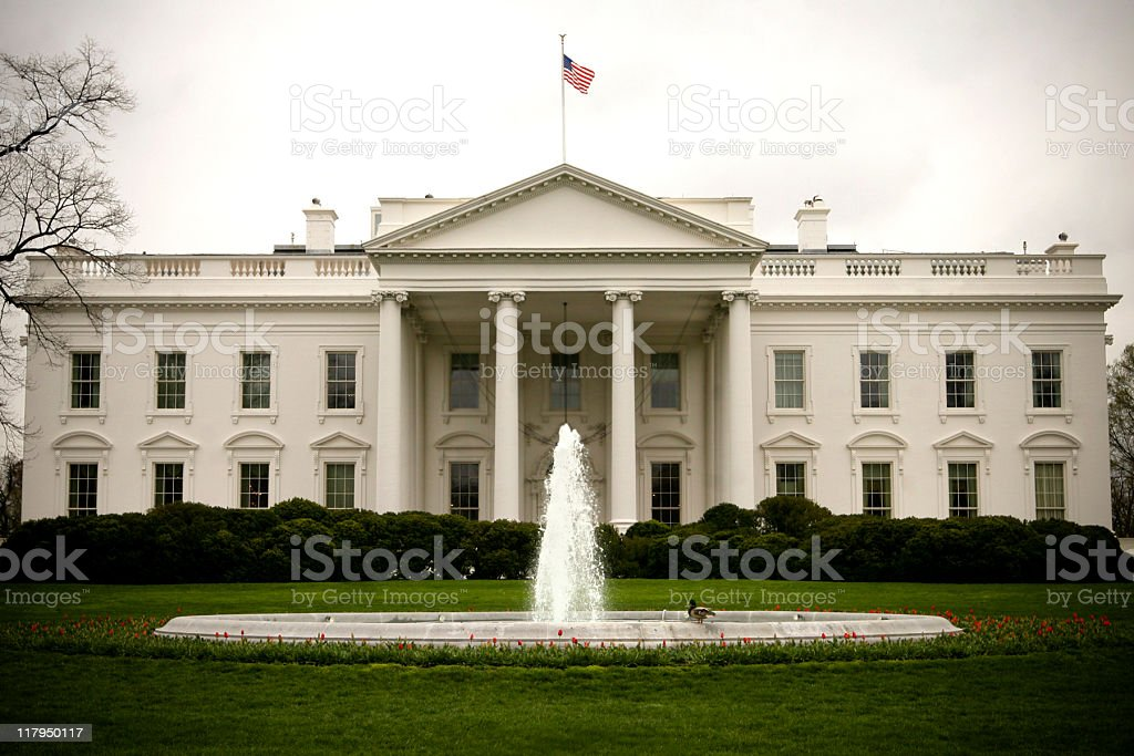 Landscape exterior front view of the White House stock photo