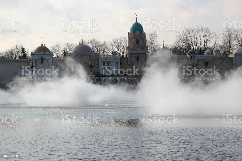 landscape fantasy castle with fog stock photo
