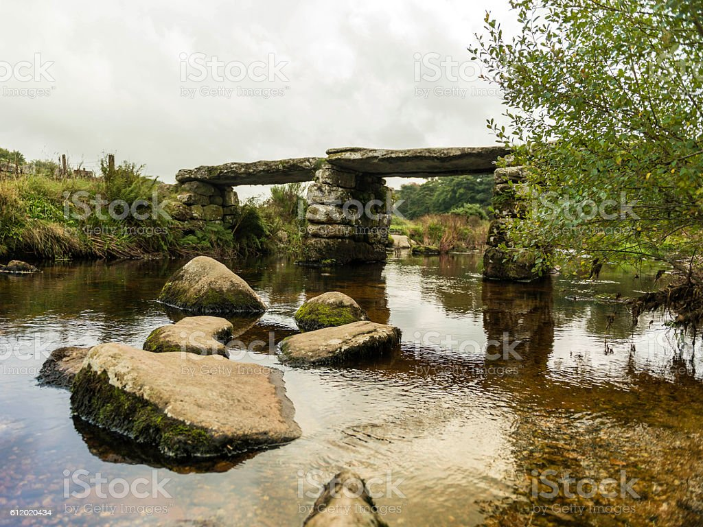 Landscape featuring a stone bridge and East Dart river stock photo