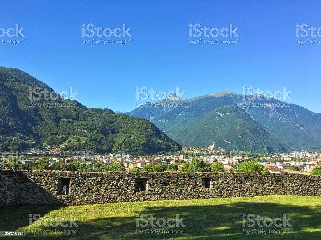 Landscape from a castles' wall stock photo