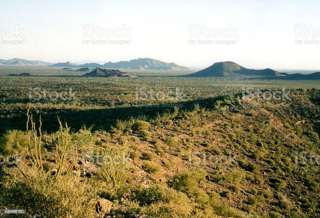 Landscape from Crater El Elegante in El Pinacate desert, Mexico stock photo
