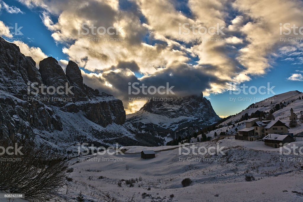 Landscape from Gardena Pass stock photo