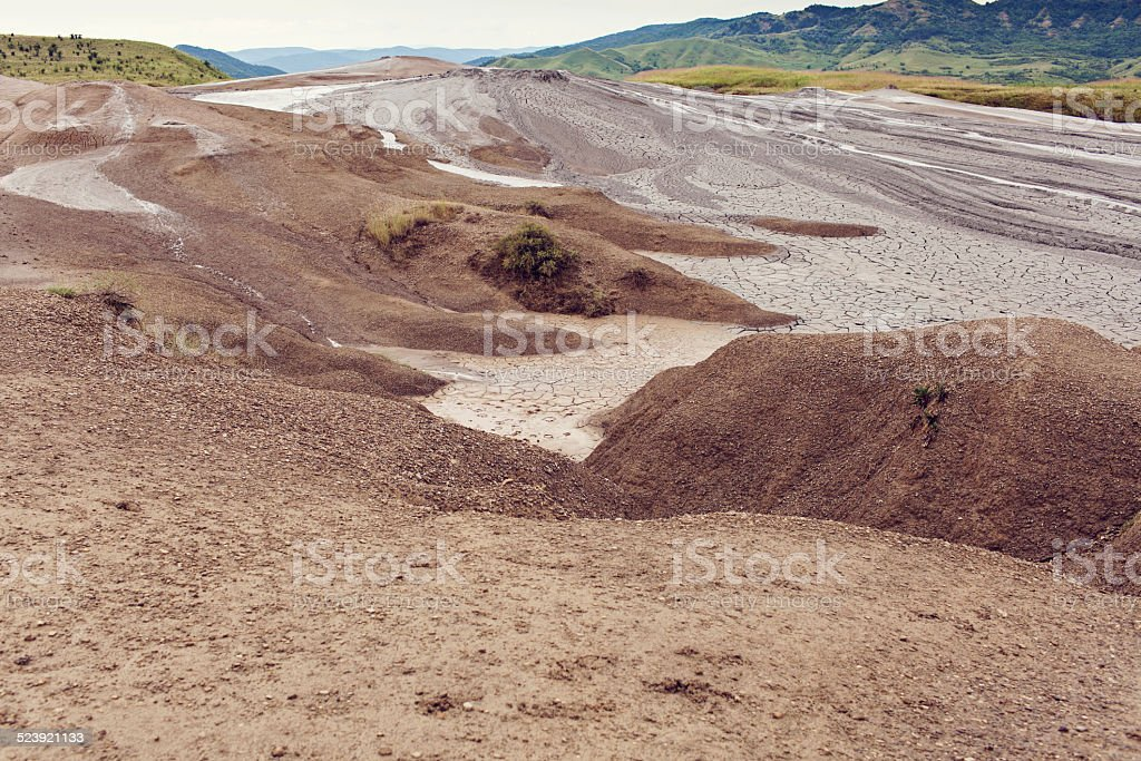 landscape from mud volcanoes in Buzau, Romania stock photo