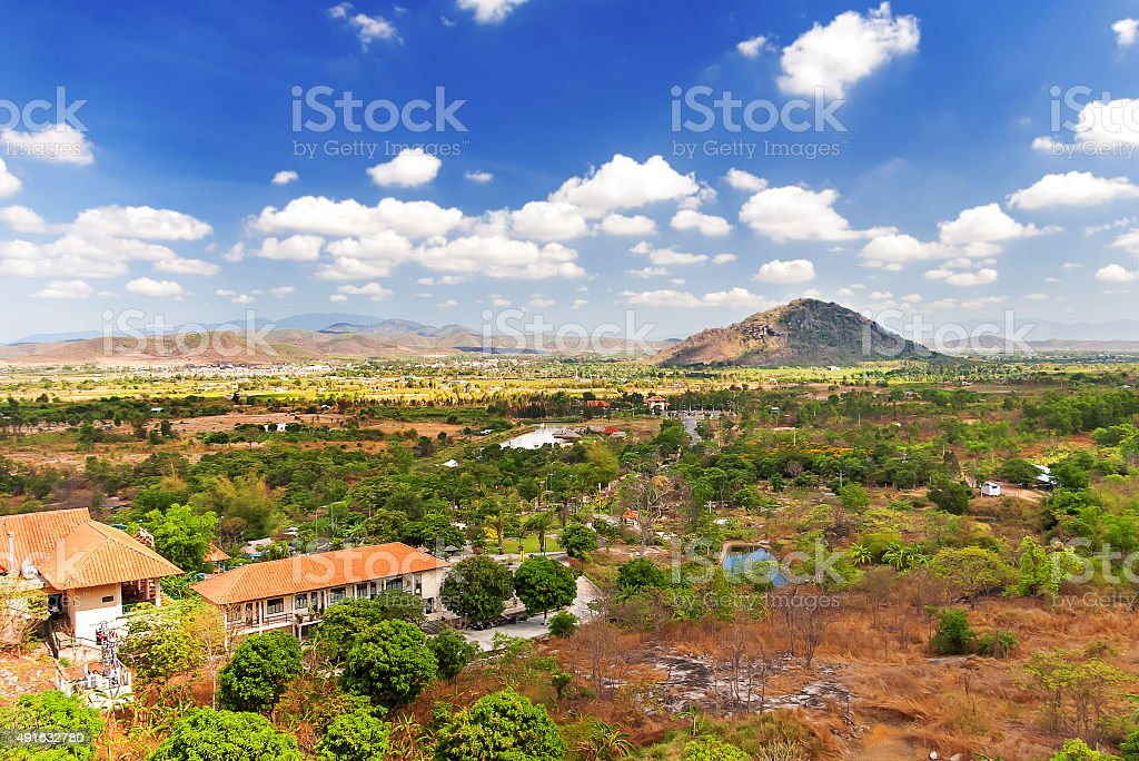 Landscape from Ta Cu mountain, Binh Thuan province, Vietnam. stock photo