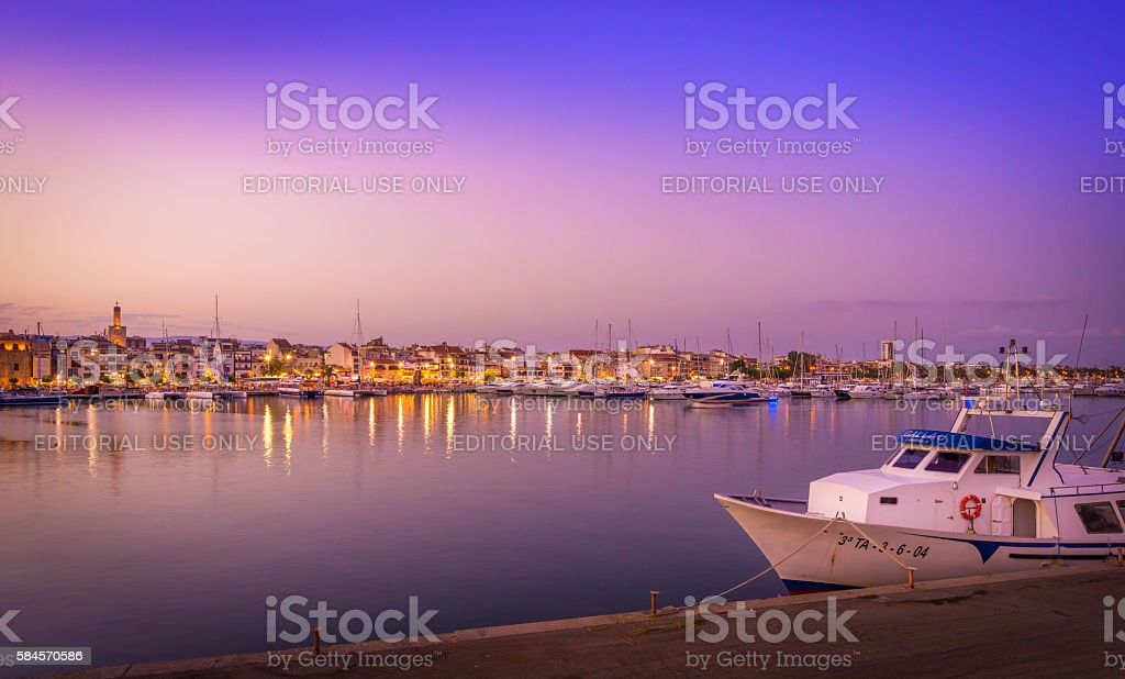 Landscape from the port of Cambrils , Spain stock photo