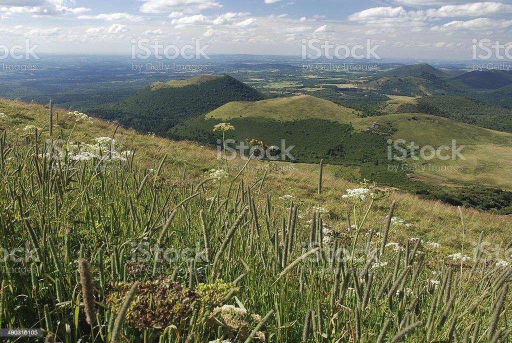 Landscape from the Puy-de-Dôme, Auvergne, France stock photo