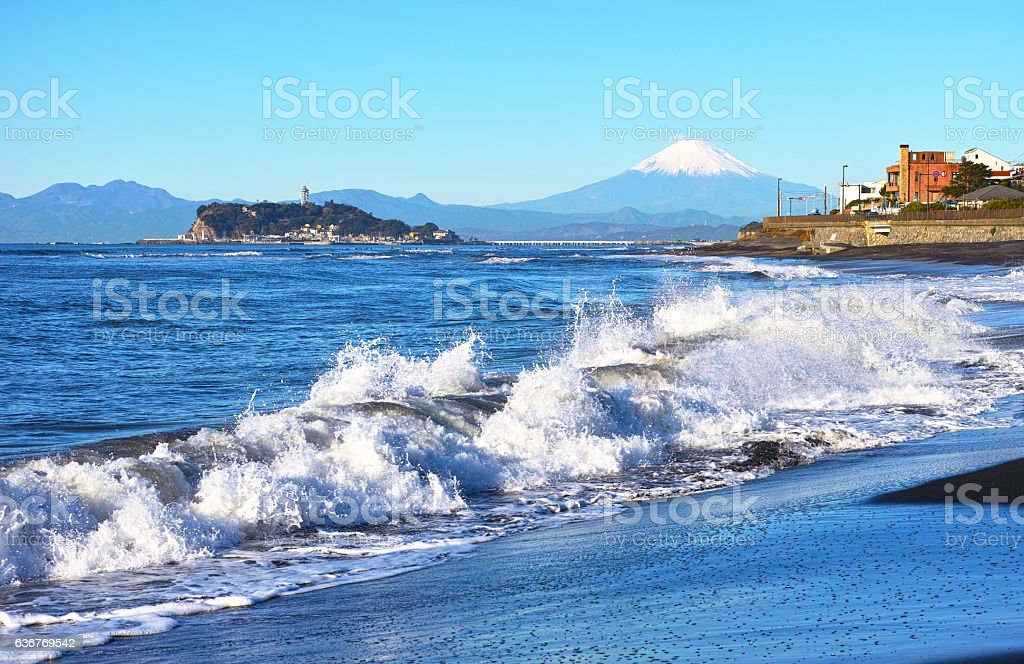 Landscape from the Shichirigama Beach stock photo