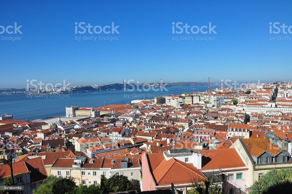 Landscape from the wall of the castle of St. George stock photo