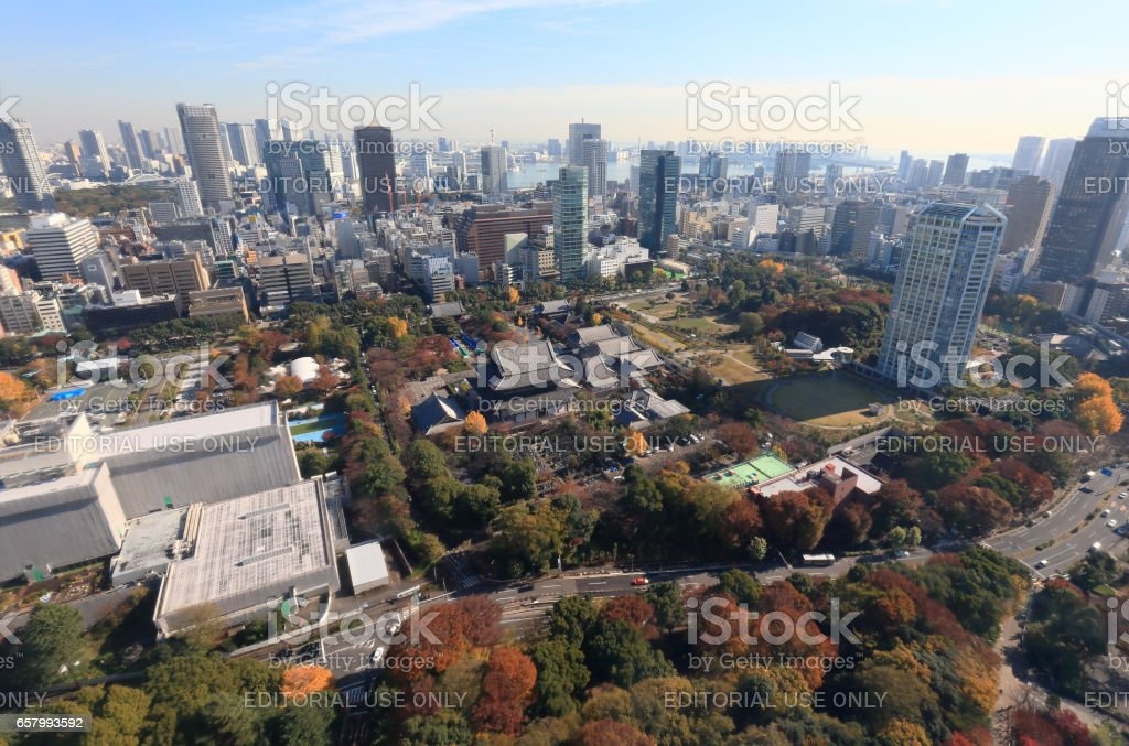 Landscape from Tokyo Tower observatory stock photo