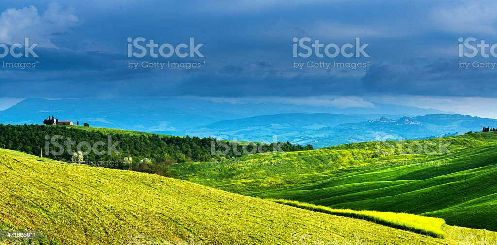 Landscape from Tuscany with small chapel royalty-free stock photo