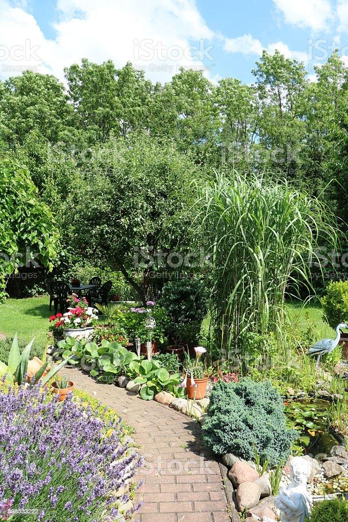 Landscape gardening in summer, Germany stock photo