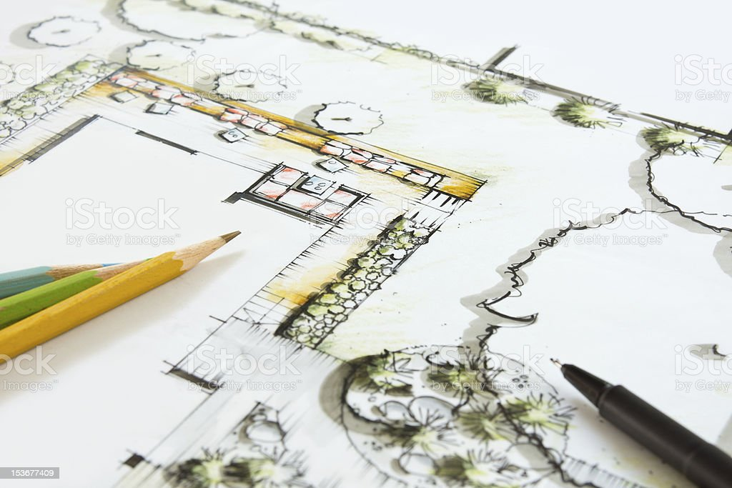 Landscape graphic Drawing royalty-free stock photo