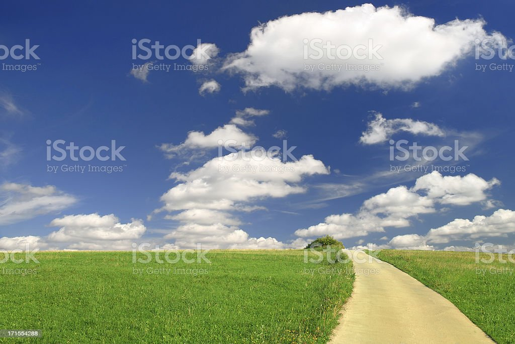Landscape - green field and rural path royalty-free stock photo