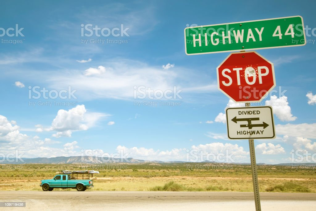 landscape highway and pickup truck stock photo