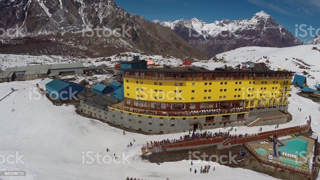 Landscape, Hotel and ski resort in Chile stock photo