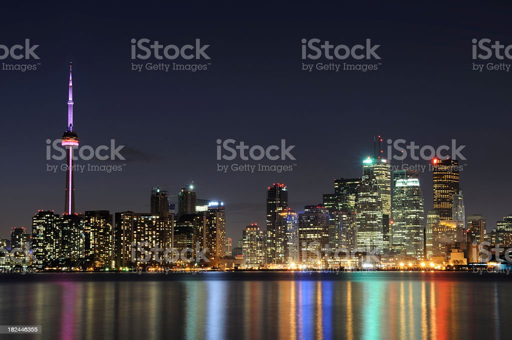 Landscape image of a Toronto skyline at night royalty-free stock photo