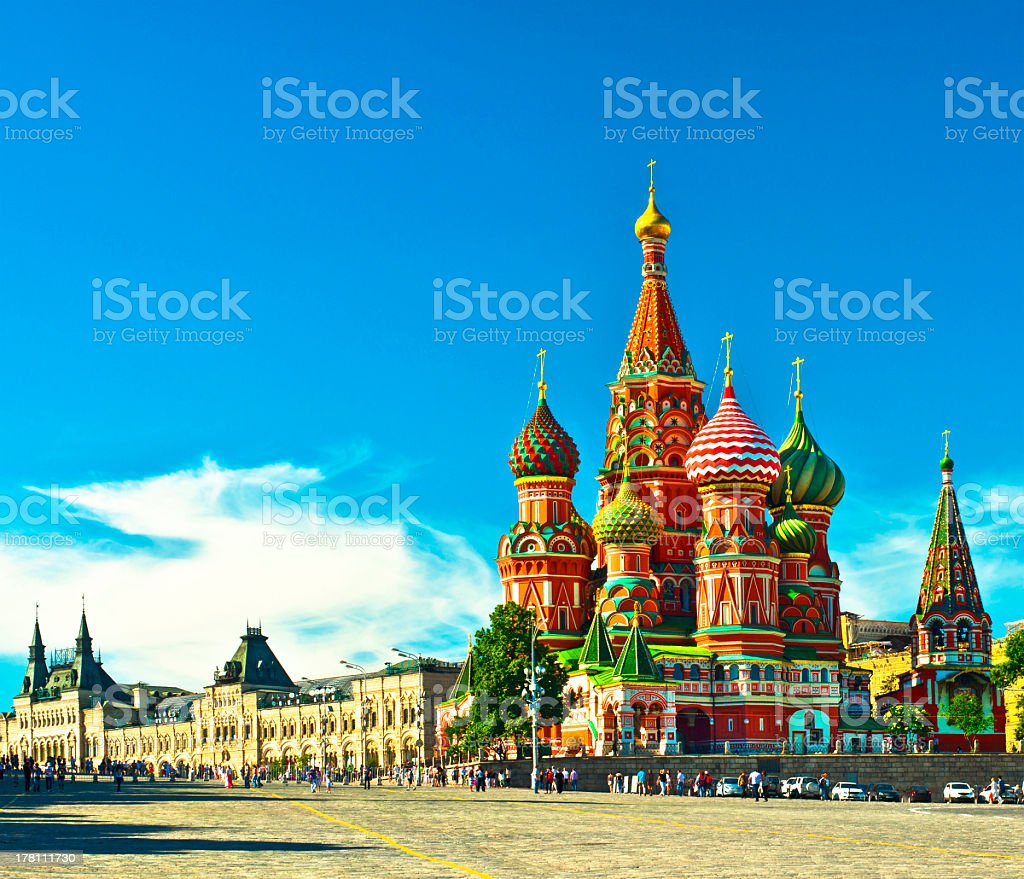 Landscape image of beautiful Red Square stock photo