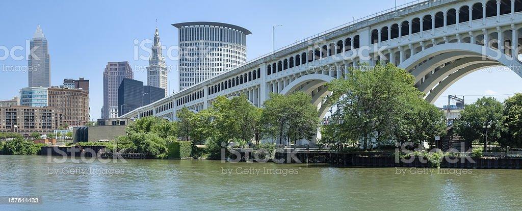 Landscape image of Cleveland skyline and bridge stock photo