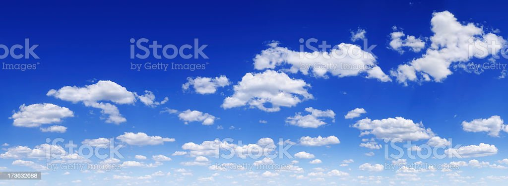 Landscape image of deep blue sky with multiple small clouds royalty-free stock photo