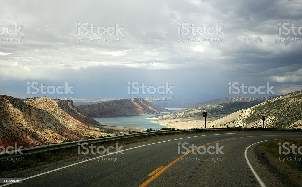 Landscape image of Flaming Gorge on a cloudy day stock photo