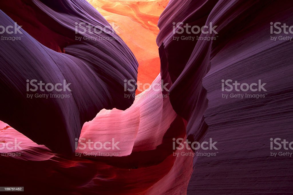 Landscape image of lower Antelope Canyon in stunning colors stock photo