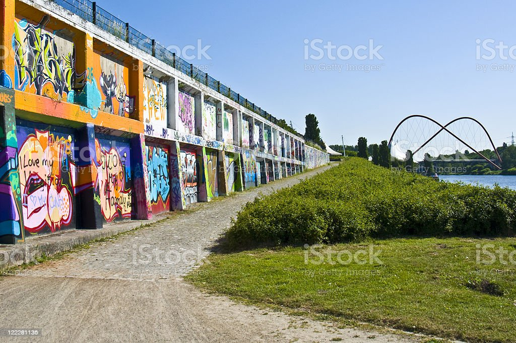 Landscape image of Nordsternpark on a sunny day stock photo