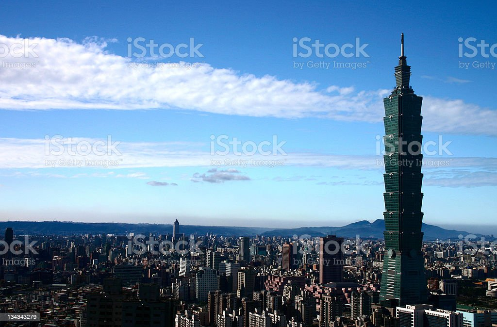 Landscape image of Taipei 101 on a sunny day royalty-free stock photo