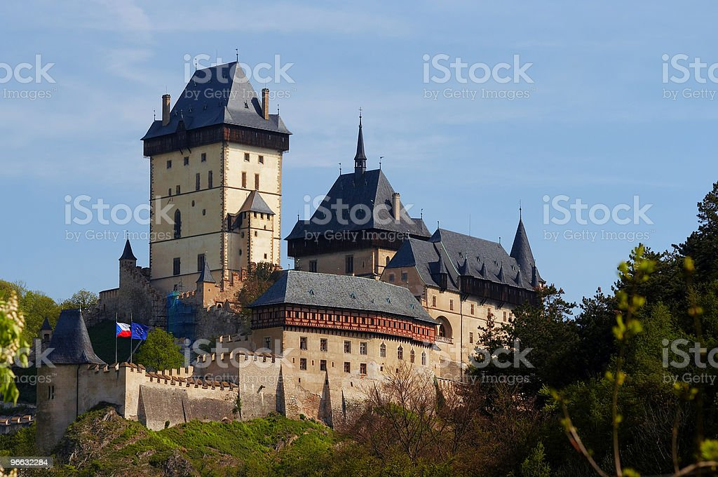 Landscape image of the Karlstejn gothic castle stock photo