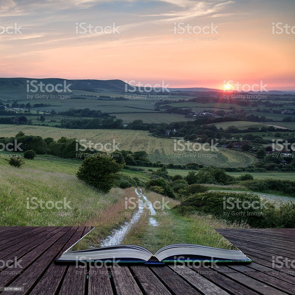 Landscape image Summer sunset view over English countryside conc stock photo