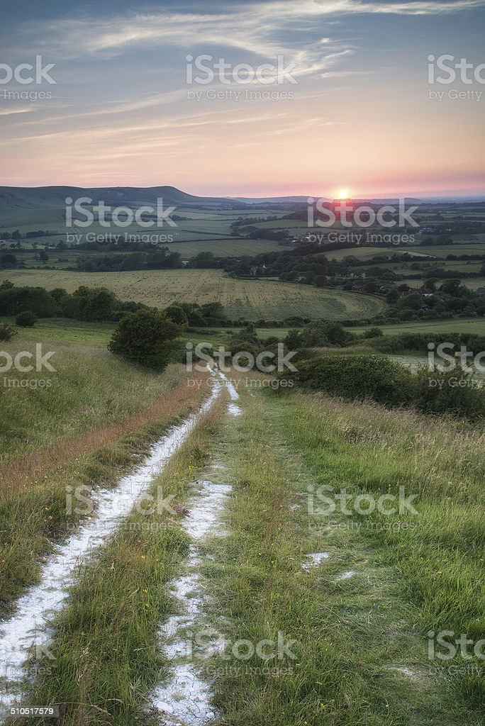 Landscape image Summer sunset view over English countryside stock photo