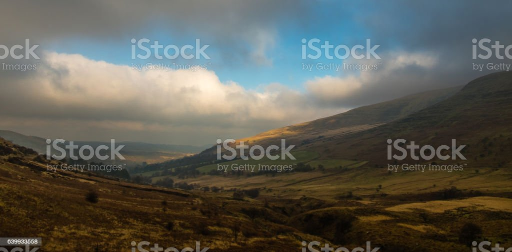 Landscape in Brecon Beacons looking towards Libanus stock photo