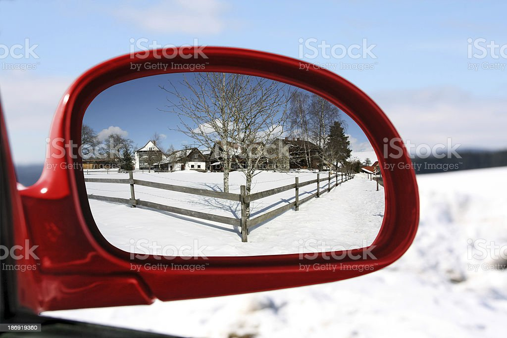 Landscape in car mirror royalty-free stock photo