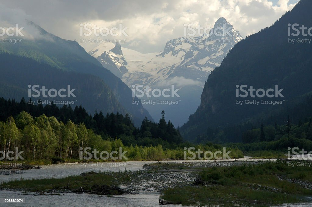 landscape in Caucasus mountains in spring stock photo