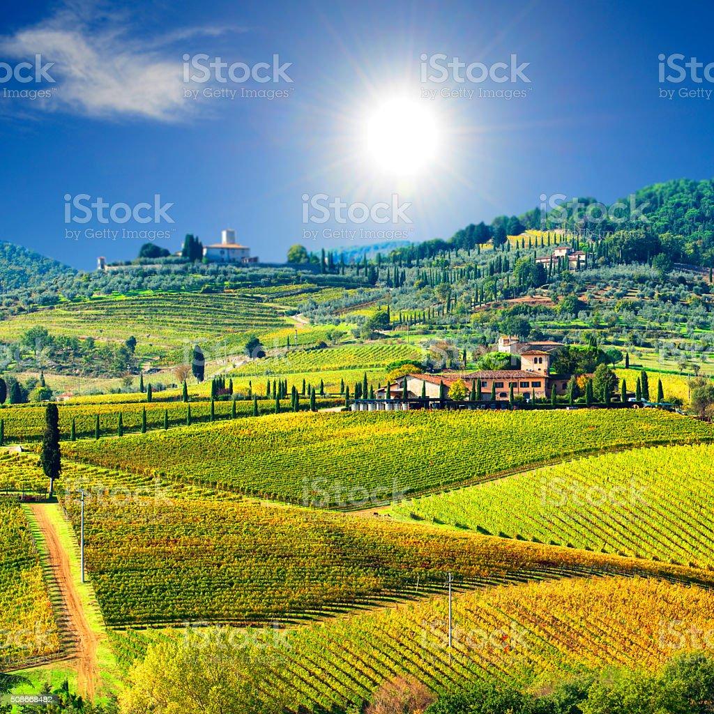 Landscape in Chianti region, Tuscany, Italy stock photo
