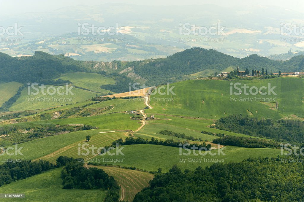Landscape in Emilia Romagna (Italy) from Sogliano at summer stock photo