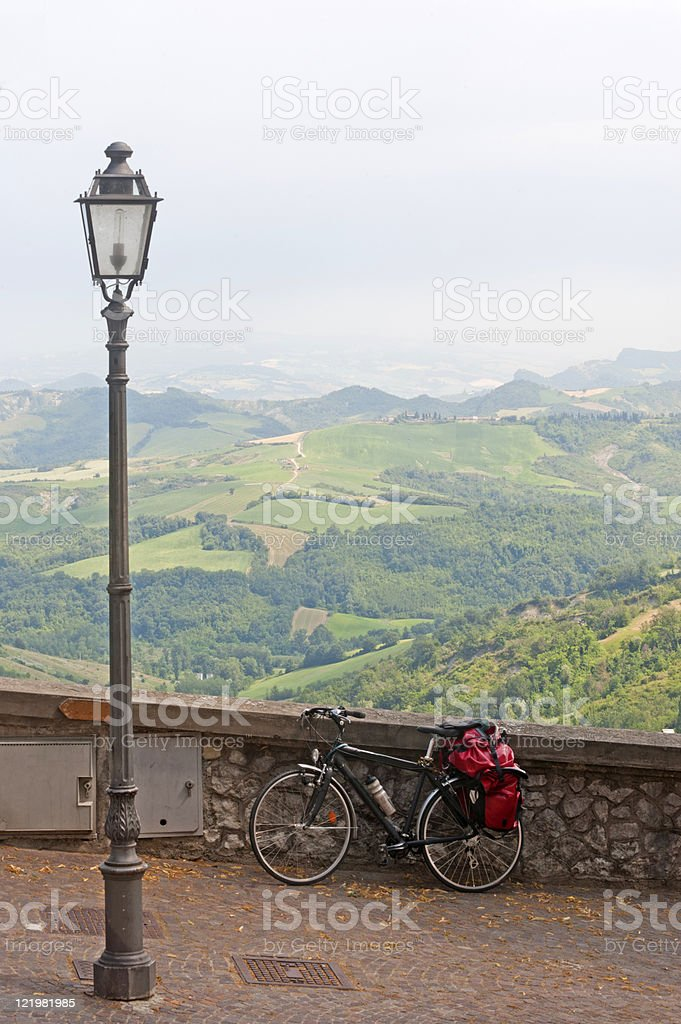 Landscape in Emilia Romagna (Italy) from Sogliano with bicycle stock photo