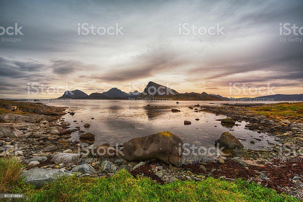 Landscape in Lofoten, Norway stock photo