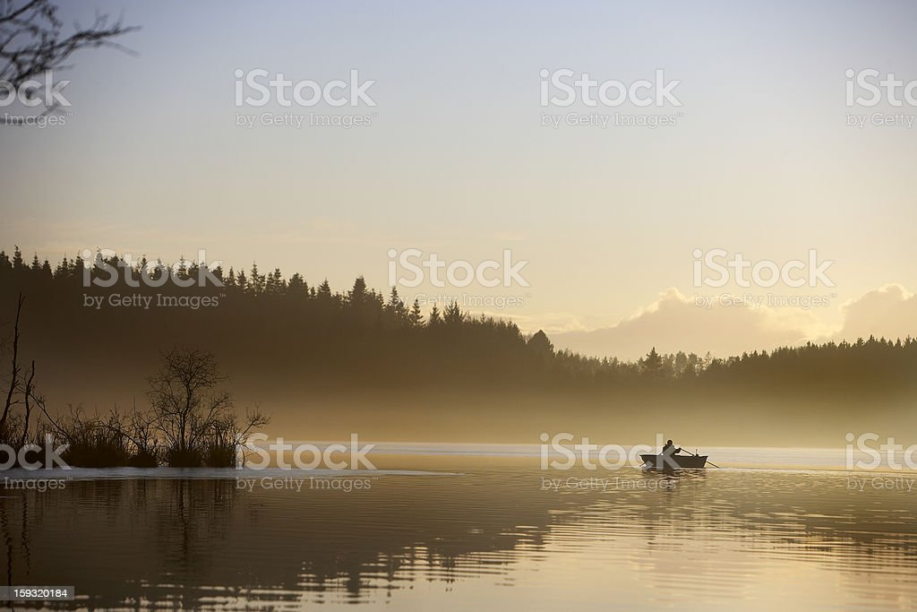 Landscape in morning haze royalty-free stock photo