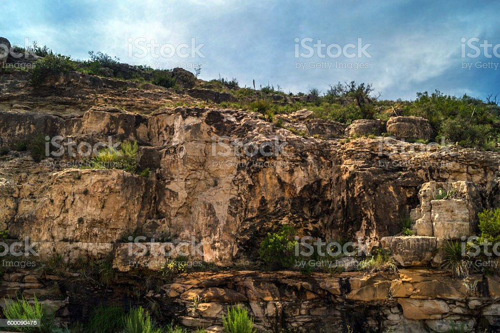 Landscape in New Mexico - rocks, cliff, foliage stock photo