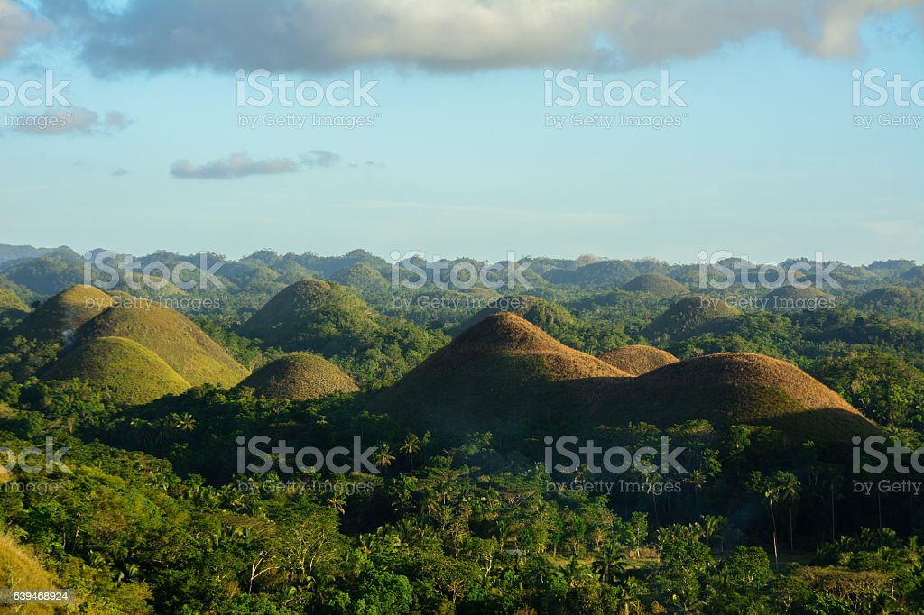 Landscape in Philippines, sunset over the chocolate hills on Bohol stock photo