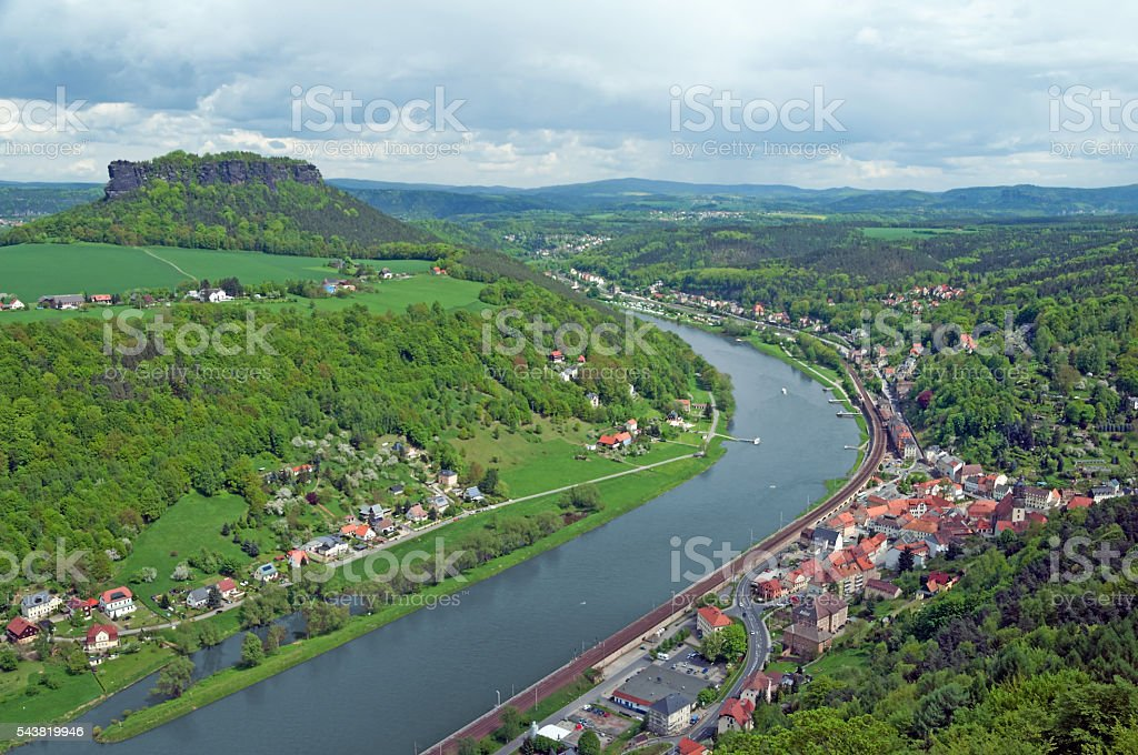 Landscape in Saxony near city Koenigstein stock photo