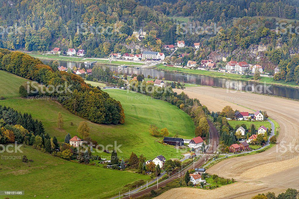 Landscape in saxony with elbe river royalty-free stock photo