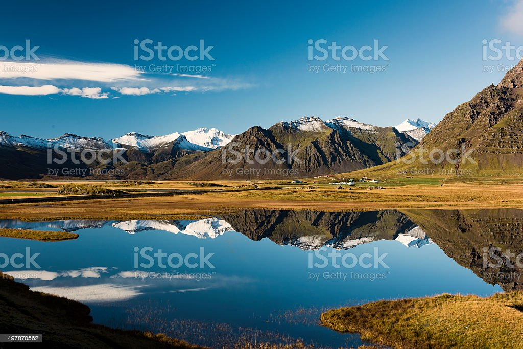 Landscape in South Iceland, Water Reflection, Lake, Glacier in  Background stock photo