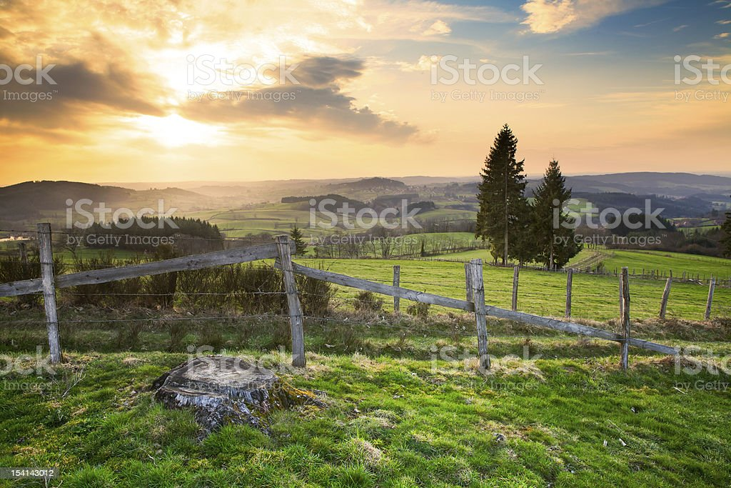 Landscape in Southern Burgundy, Charolais, France stock photo